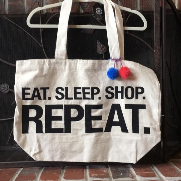 e37c01776 cul de sac Bags   Nwt Eat Sleep Shop Repeat Large Tote Bag W Bobbles ...